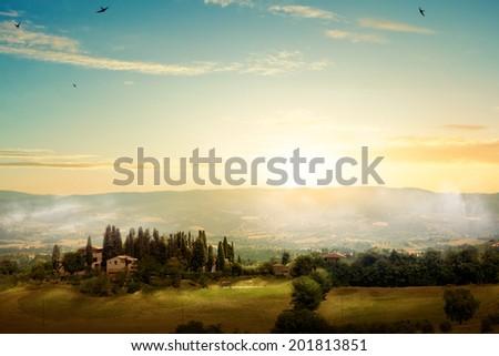 art morning Tuscany - scenic landscape, Italy - stock photo