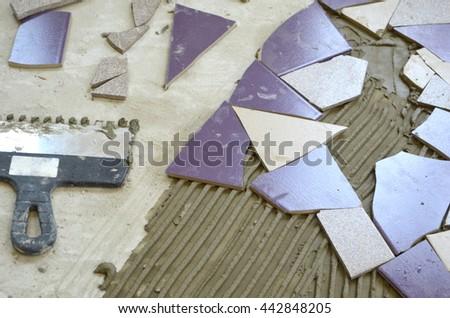 Art mosaic glass on the wall, glass mosaic. seamless mosaic. ceramics purple. Seamless background. seamless tiles. glass mosaic. colorful mosaic - stock photo