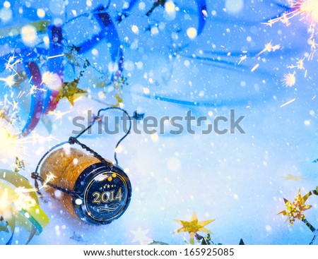 art 2014 new year party with champagne - stock photo