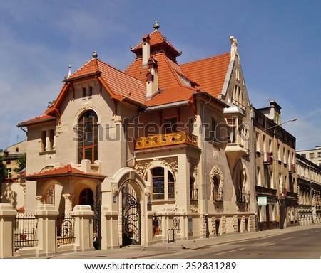 Art Nouveau architecture of the city Lodz,Poland - villa Kinderman - Details of architecture - stock photo
