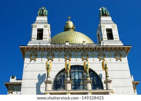 Art nouveau church An art nouveau church from �Otto Wagner� in Vienna.  - stock photo
