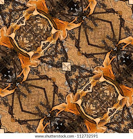 art nouveau colorful ornamental vintage pattern in brown - stock photo