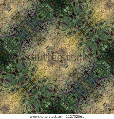 art nouveau colorful ornamental vintage pattern in green - stock photo