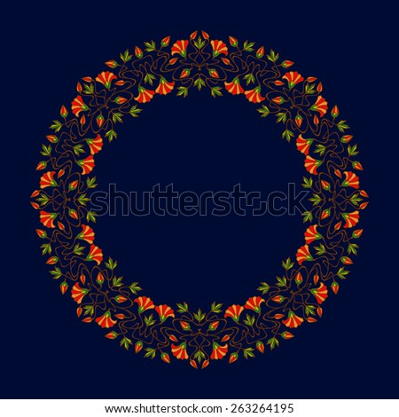 Art nouveau floral round frames with space for text. Raster version. - stock photo