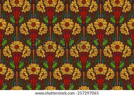art nouveau flower pattern in jewel tones - stock photo