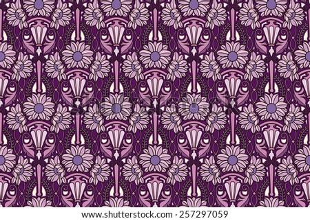 art nouveau flower pattern in purples - stock photo