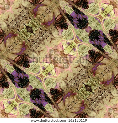 art nouveau geometric ornamental vintage pattern in brown, violet, beige, light pink and green colors - stock photo