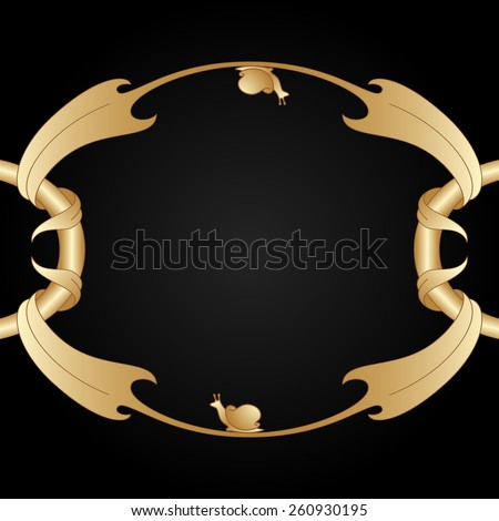 Art nouveau gold frame with space for text. Raster version. - stock photo