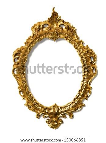 Art Nouveau gold Mirror Frame - stock photo