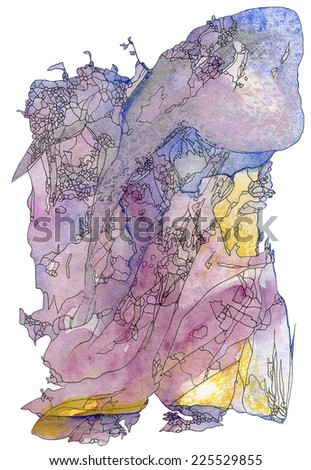 Art Nouveau landscape Pink Pair. Abstract original watercolor background texture.