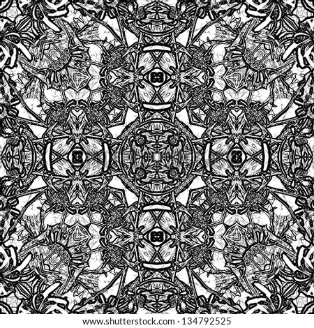 art nouveau ornamental vintage pattern in black and white colors, monochrome background
