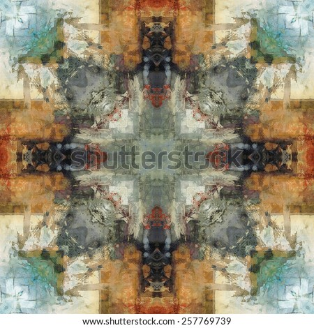 art nouveau ornamental vintage  pattern, S.1, colorful watercolor background in pastel green, blue, white, beige, grey olive and orange colors - stock photo