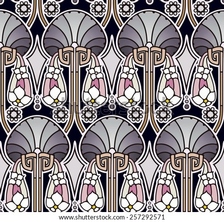 art nouveau pattern in lush pearl tones - stock photo