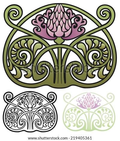 Art Nouveau style ornament of a thistle - stock photo