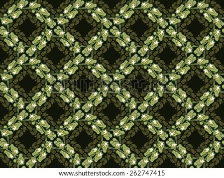 Art nouveau style pattern of spatterdock flowers and leaves.  - stock photo