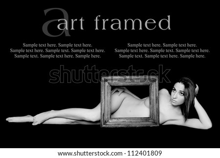 Art of a Woman Framed with Text Space above - stock photo