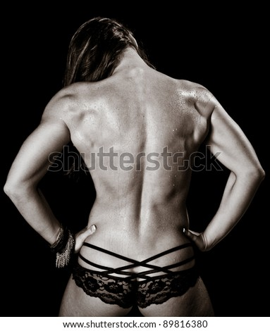 Art of a Woman's Back Muscles - stock photo