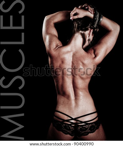 Art of a Woman's Back Muscles with text space to the left - stock photo