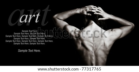 Art of a Woman's Back with text space to the left - stock photo