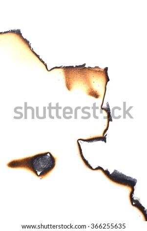 art of burning paper on white paper background - stock photo