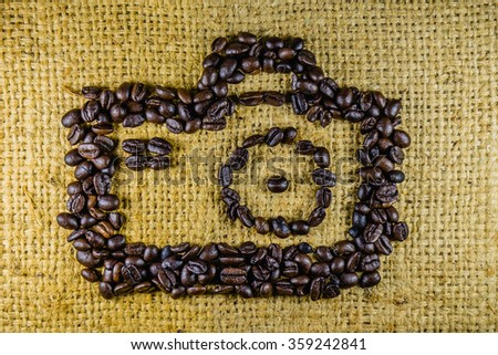 Art of coffee beans on sackcloth