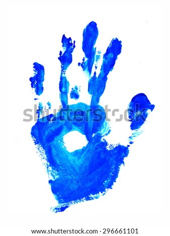 Art of colorful watercolor hand stamp on white background