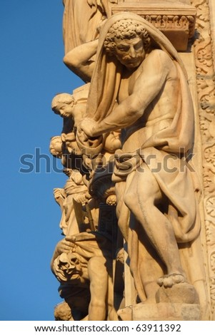 Art of Duomo in Milan, Italy - stock photo