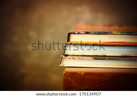 art of Old book stack on shelf