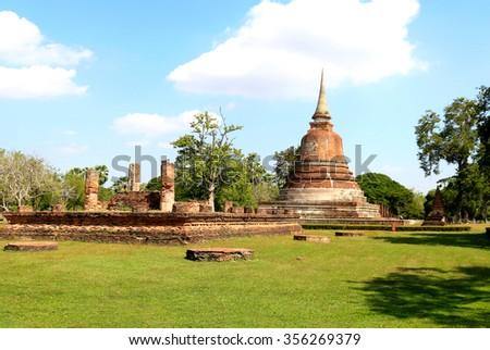 Art of old pagoda in historical park,Thailand - stock photo