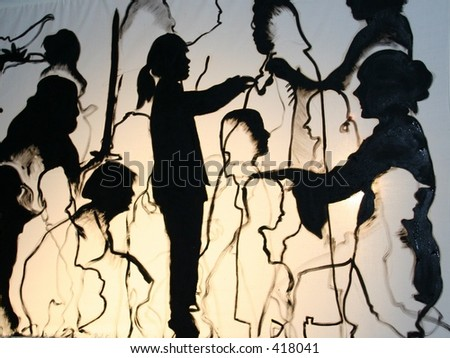 Art of silhouettes - stock photo