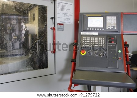 art of the cnc milling machine with control panel - stock photo