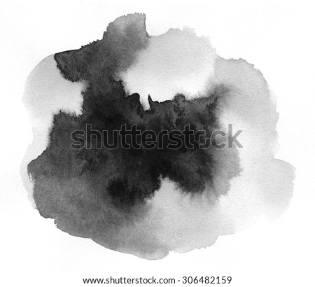 Art of Watercolor. Black spot on watercolor paper. Abstract gray spot on white background. Ink drop. Gray color. Abstract background and illustration texture for design and formalization. - stock photo