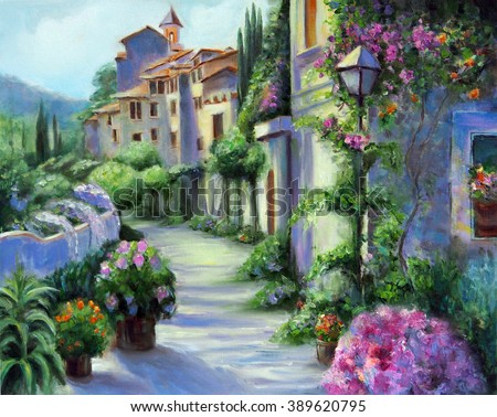 Art Oil-Painting Picture Flower Street on Sunny Day