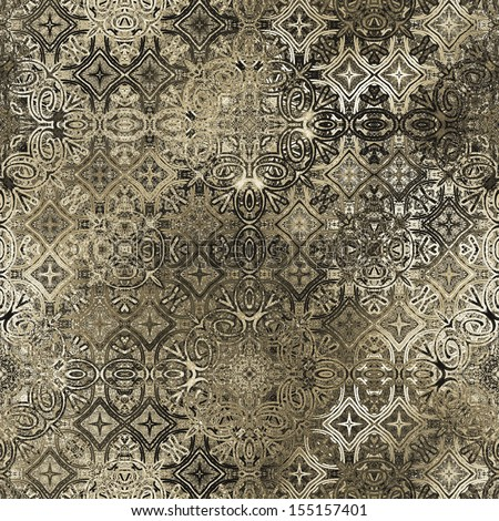 art ornamental vintage seamless pattern, monochrome background in beige, brown, grey, white and black colors - stock photo