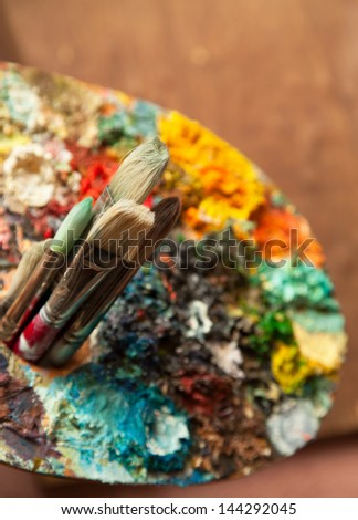 Art Paint Brushes and Palette - stock photo