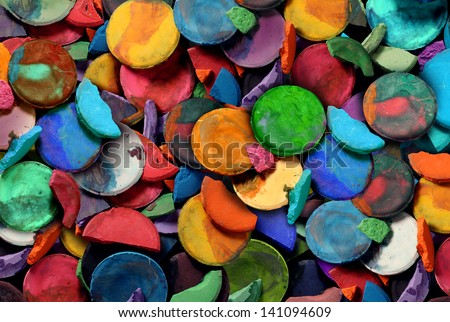 Art paint concept background as a group of old used water color pucks as an arts and crafts school and creative education idea for children and students to discover and express their creativity. - stock photo