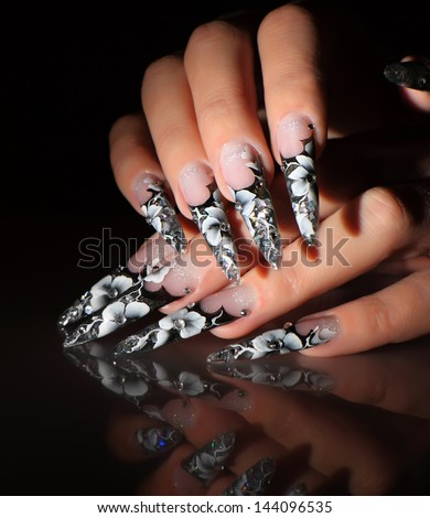 Art painting nails. - stock photo