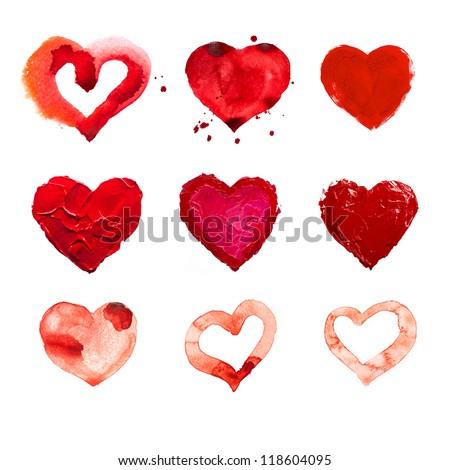art paints, hearts, love - stock photo