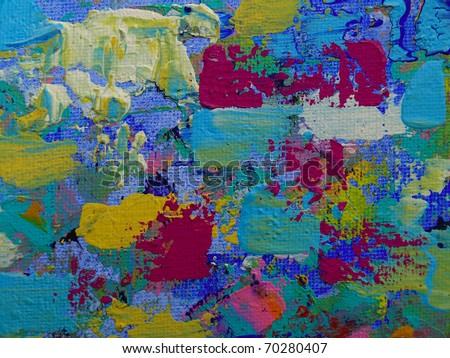 Art paints on canvas with acryl colours - stock photo