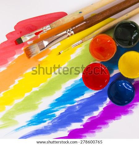 art paints, palette, brushes - stock photo