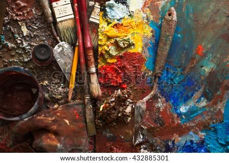 art paints, palette, brushes pencil darck tone - stock photo