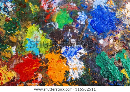 Art palette background with various acrylic paint spots  - stock photo