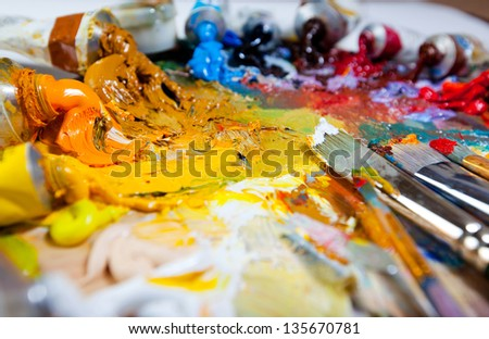 Art Palette With Oil Paints And Brushes Theme Paint