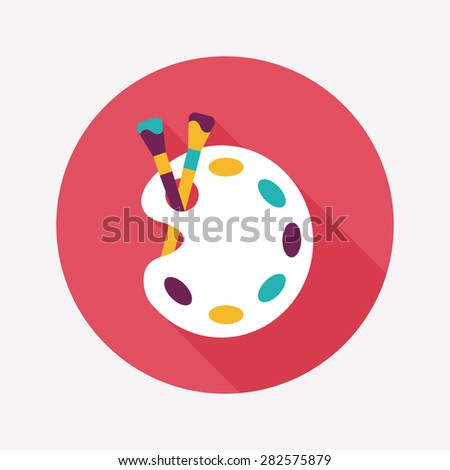 Art palette with paint brush flat icon with long shadow,eps 10 - stock photo