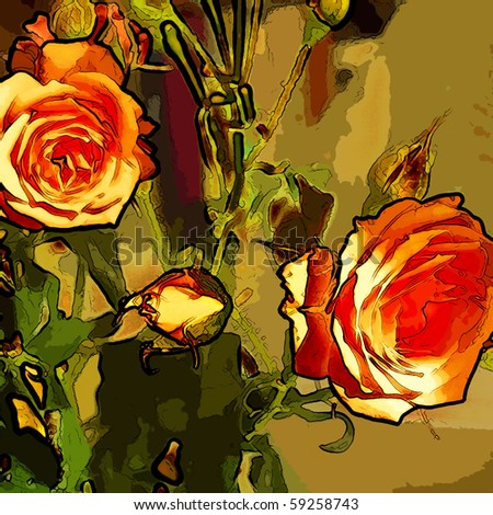 art peach roses grunge graphic background - stock photo