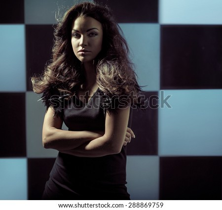Art photo of a sexy brunette - stock photo