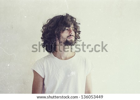 art photo of handsome man, vintage style - stock photo