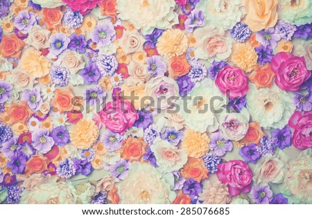 Art photo of wall of flowers. Wedding decor - stock photo