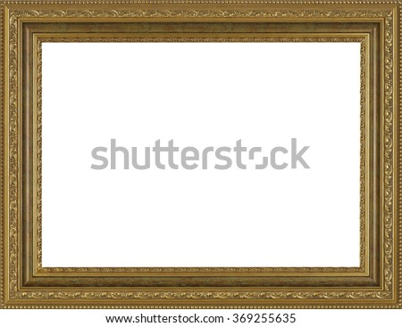 art picture frame golden  isolated on white background - stock photo
