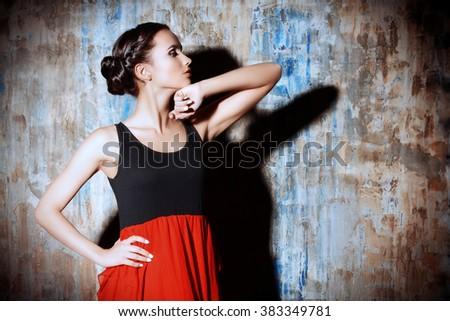 Art portrait of a beautiful Spanish girl. Latin dances. - stock photo